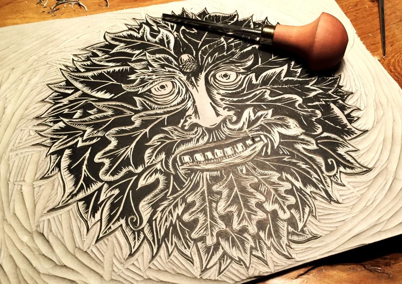 Draw Cut Ink Press | Green Man; Work in Progress 01 | linocut Print