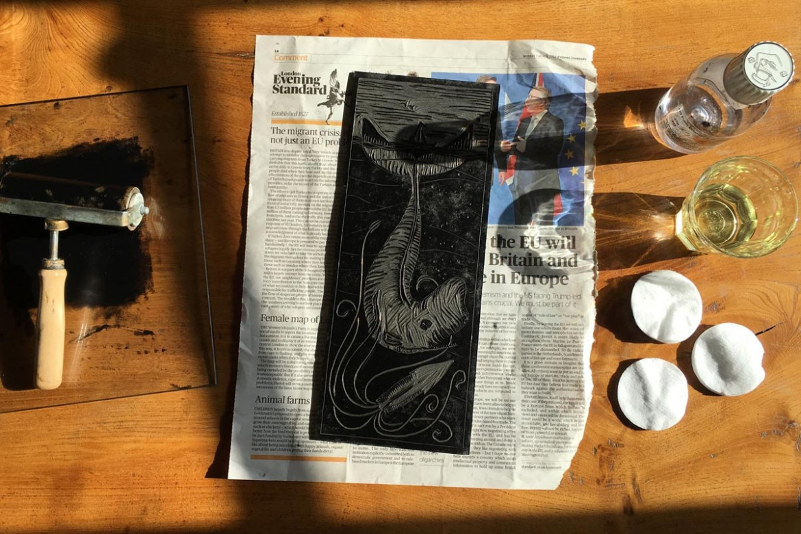 Cleaning a linocut after printing