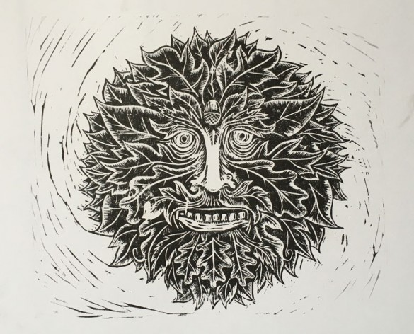 Lino print Green man portait | draw Cut Ink Press