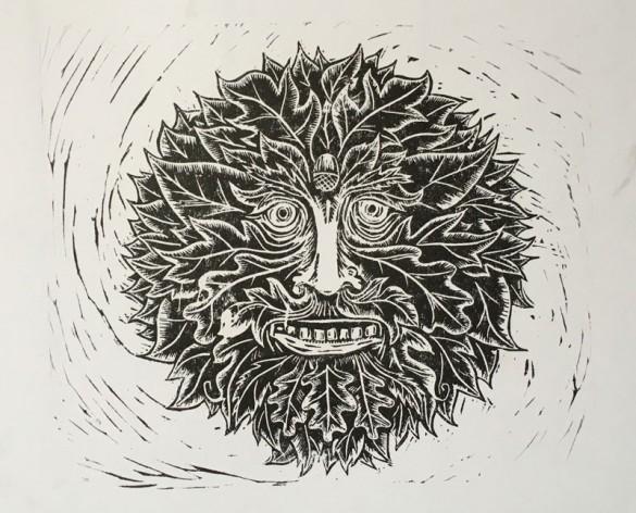 Lino print Green man portait | draw Cut Ink Press