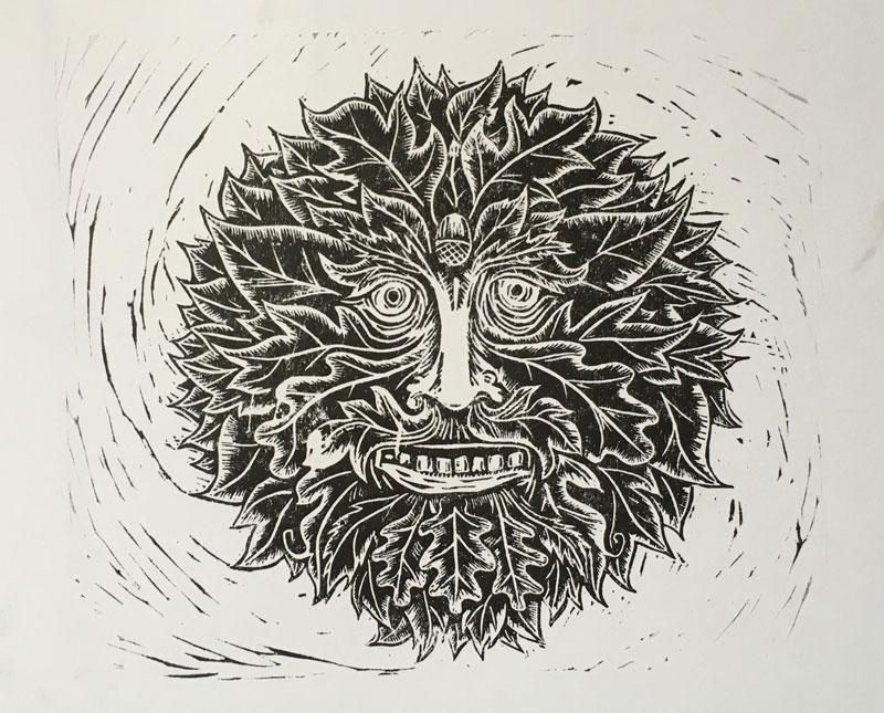 Lino print Green man portait   draw Cut Ink Press