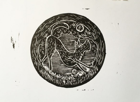 Lino Print of Irish Terrier | Draw cut Ink Press