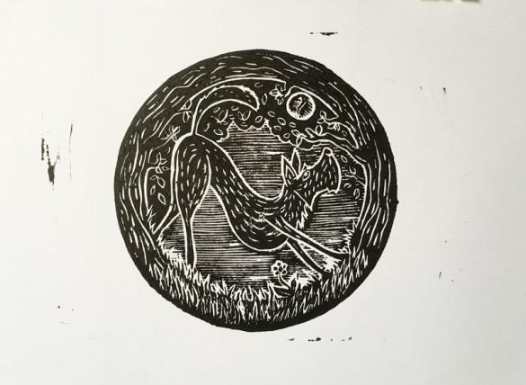 Lino Print of Irish Terrier | Draw cut Ink Press