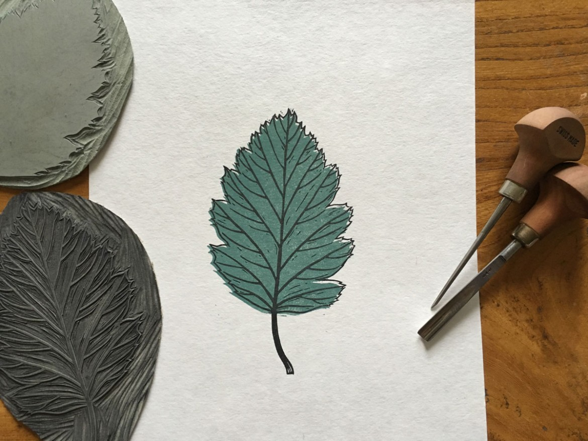 final colour lino printing leaf design