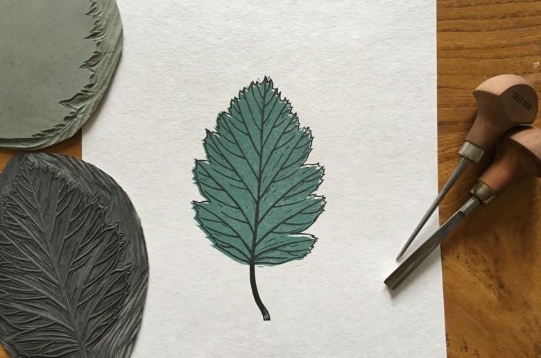 final colour lino printing leaf design
