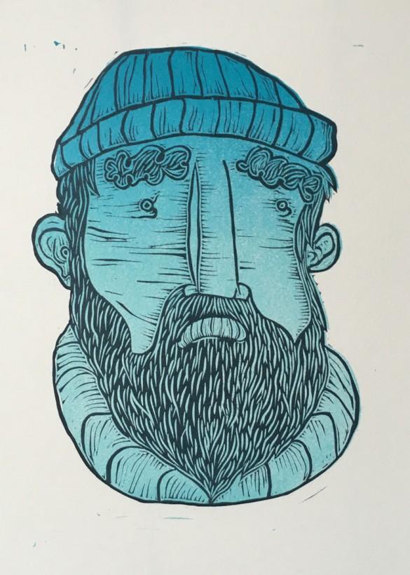 Seadog Portrait | Draw Cut Ink Press