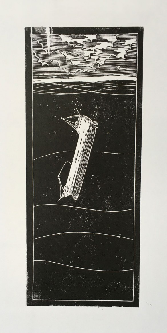 Linoprint - Sinking Ship - Draw Cut Ink Press