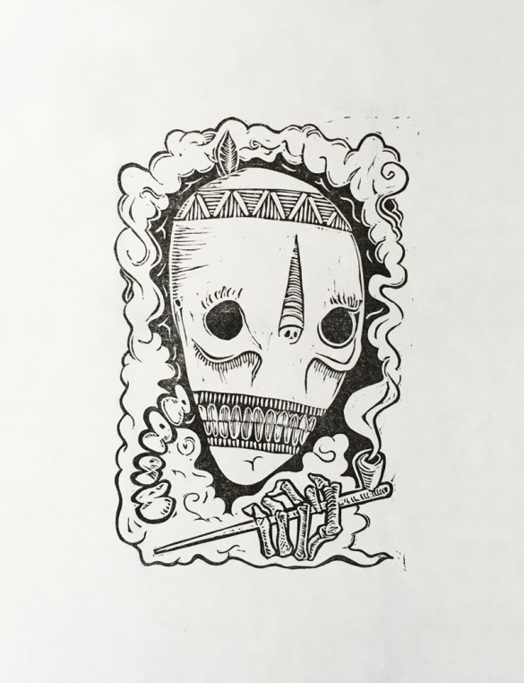 Lino Print of a smoking skull | Draw Cut Ink Press