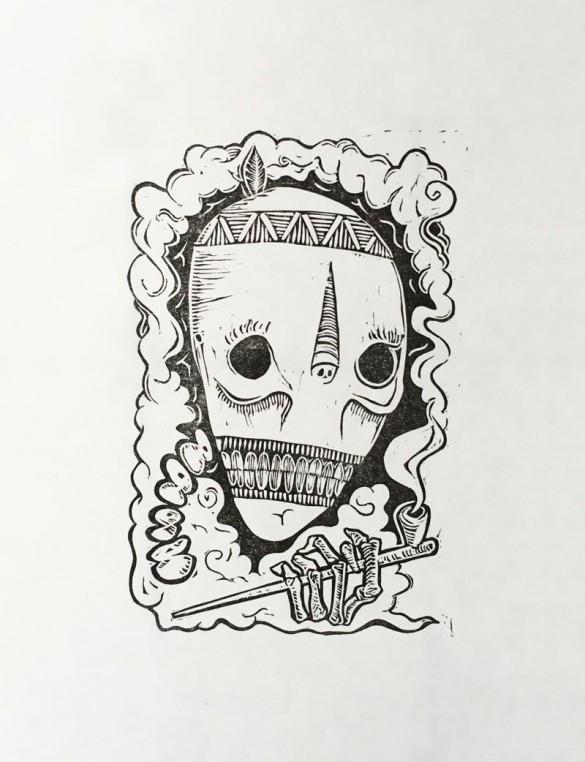 Lino Print of a smoking skull | Draw Cut Ink Press