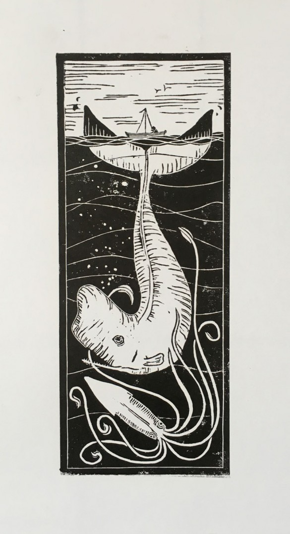 Lino Print of Whale and Giant Squid | Draw Cut Ink Press