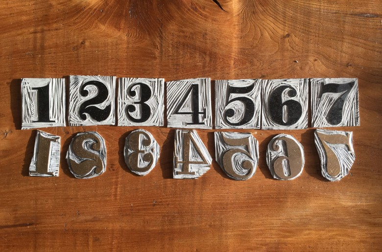 Linocut Letters and Numbers