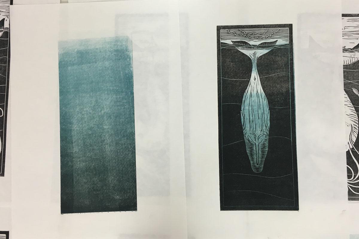 Lino Printing a Colour Gradient - Draw Cut Ink Press