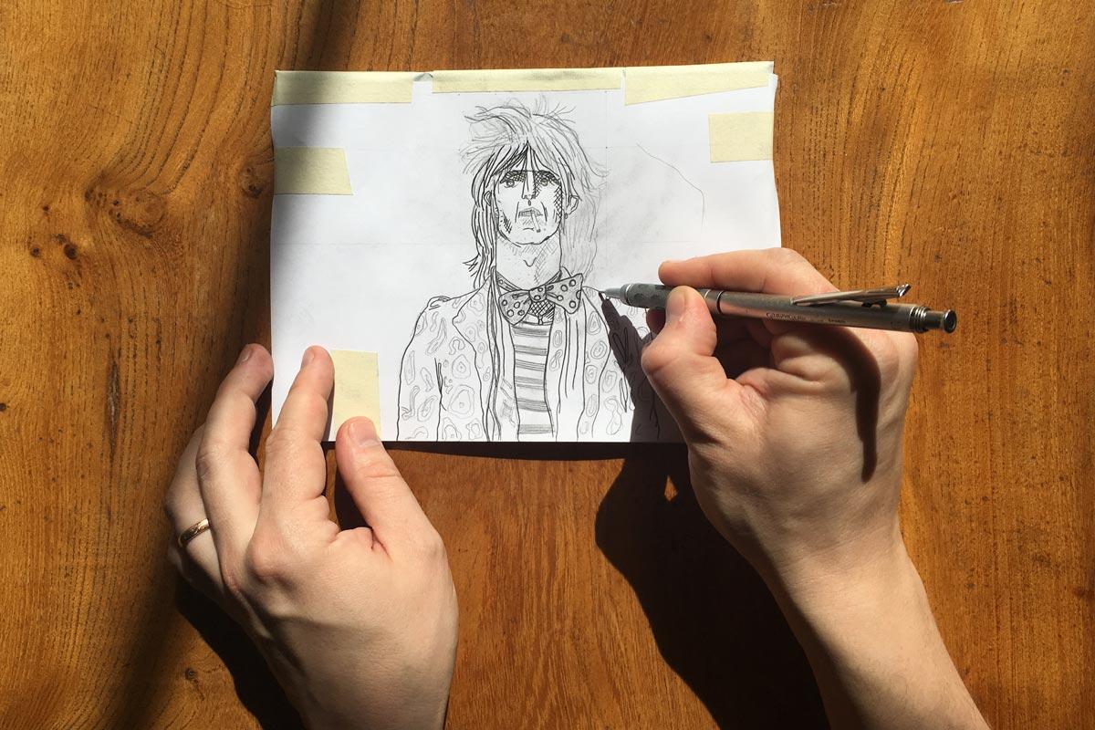 transfer a sketch to lino draw cut ink press