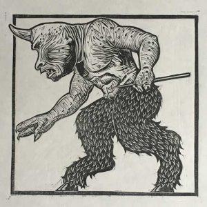 Cyclops linocut print