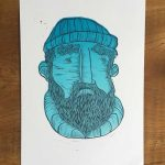 linocut print of an old sedan fisherman inspired by the town of Margate