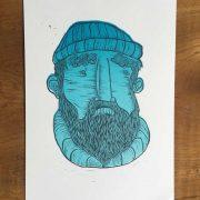Seadog-Linocut-Print-2Colour