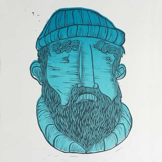 Linocut Print Character Portrait of a fisherman