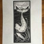 Squid and Whale Linocut Print for sale