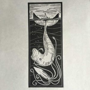 Squid and Whale Linocut print