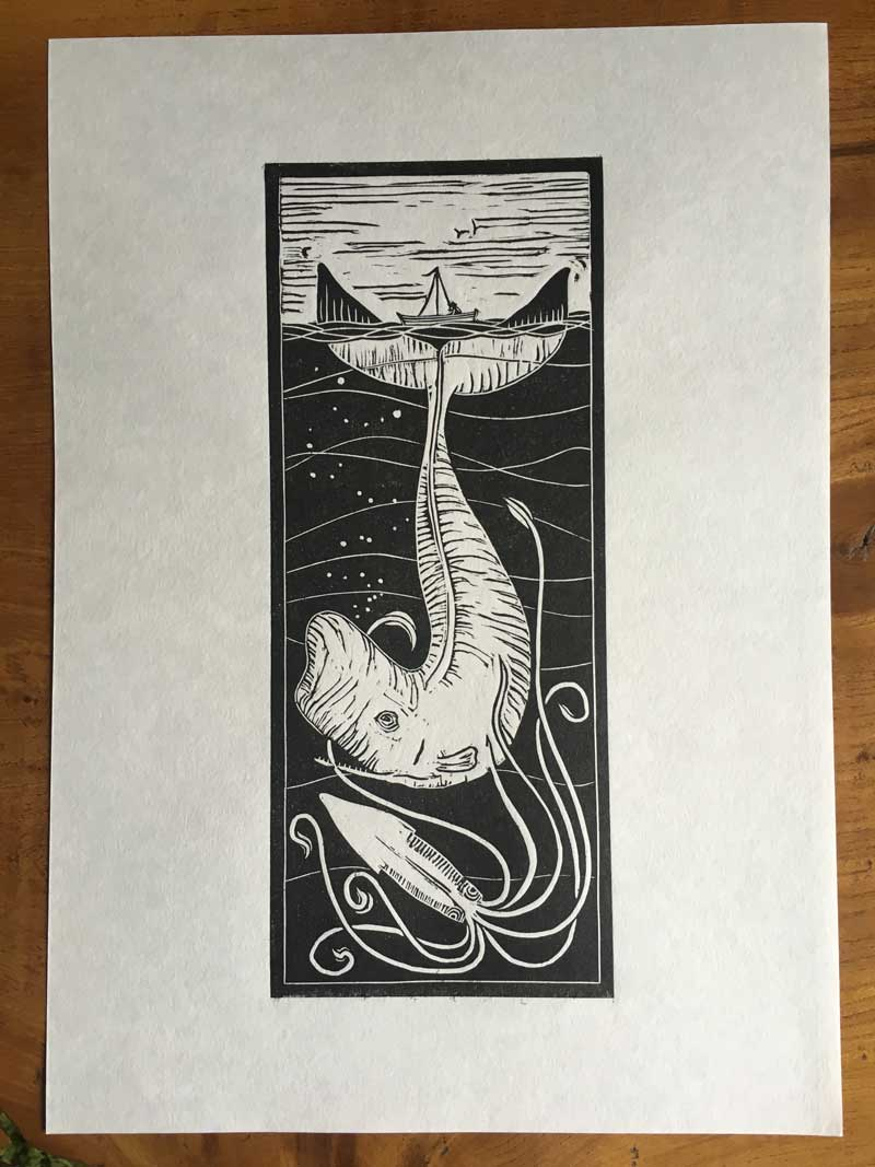 Squid and Whale Linocut Print for sale - Draw Cut Ink Press