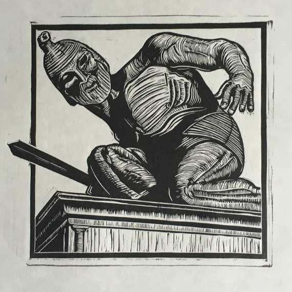 Talos-Jason and the Argonauts Linocut Print