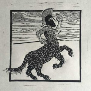 Trojan Centaur Linocut Print for sale