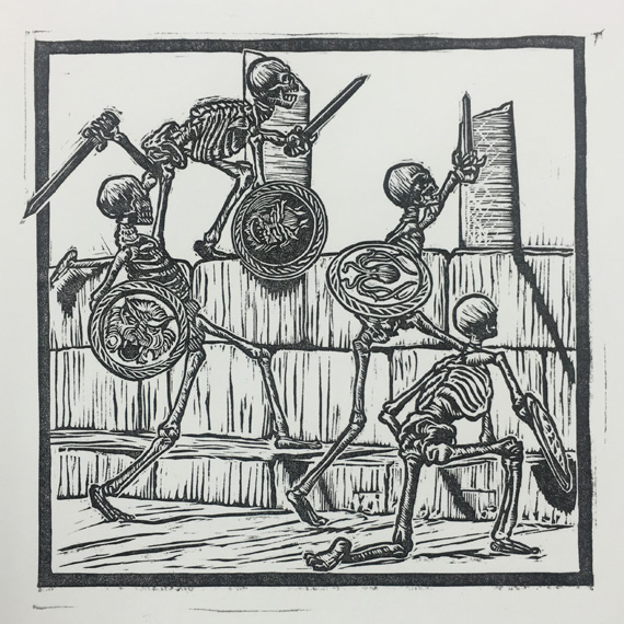 Jason and the argonauts skeletons - linocut - lino print