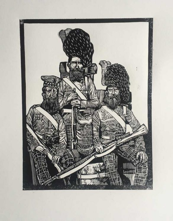 Linoprint - Crimean Soldiers - Brothers - DrawCutInkPress