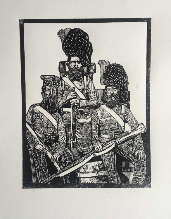 Linoprint - Crimean Soldiers - Brothers - DrawCutInkPress