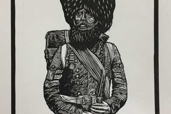 Linoprint - Crimean Soldier - DrawCutInkPress