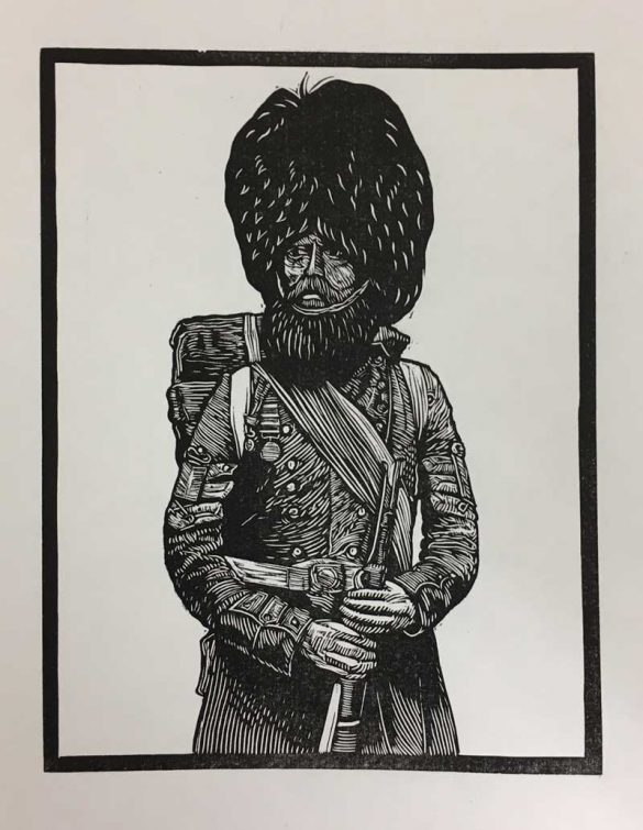 Linoprint - Crimean Soldier - DrawCutInkPress