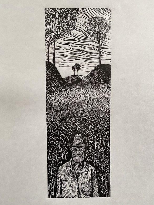 Farmer Linocut