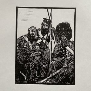 Old Soldiers Linocut Print - Roger Fenton - thumbnail