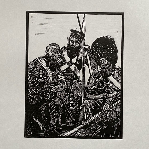Old Soldiers Linocut Print - Roger Fenton - thumbnail