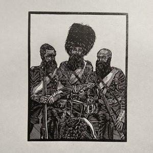 Crimean War Old Soldiers Linocut Print Thumbnail