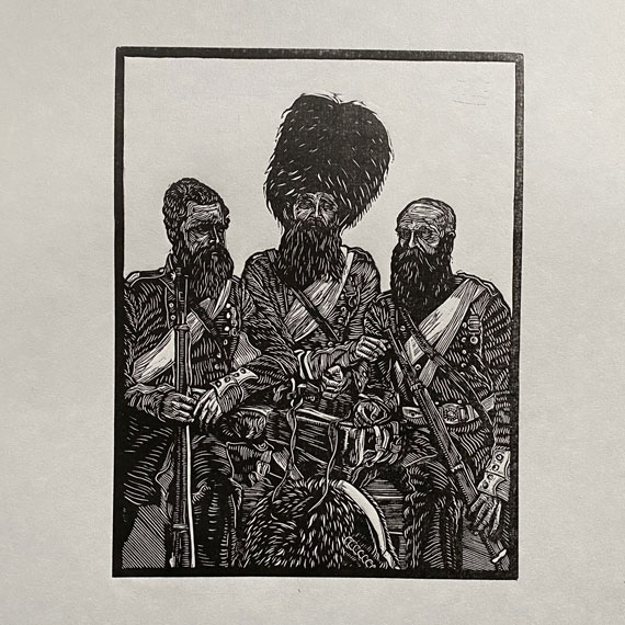 Crimean War Old Soldiers Linocut Print Thumbnail