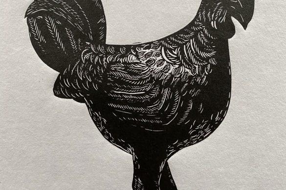 Rooster Linocut Print