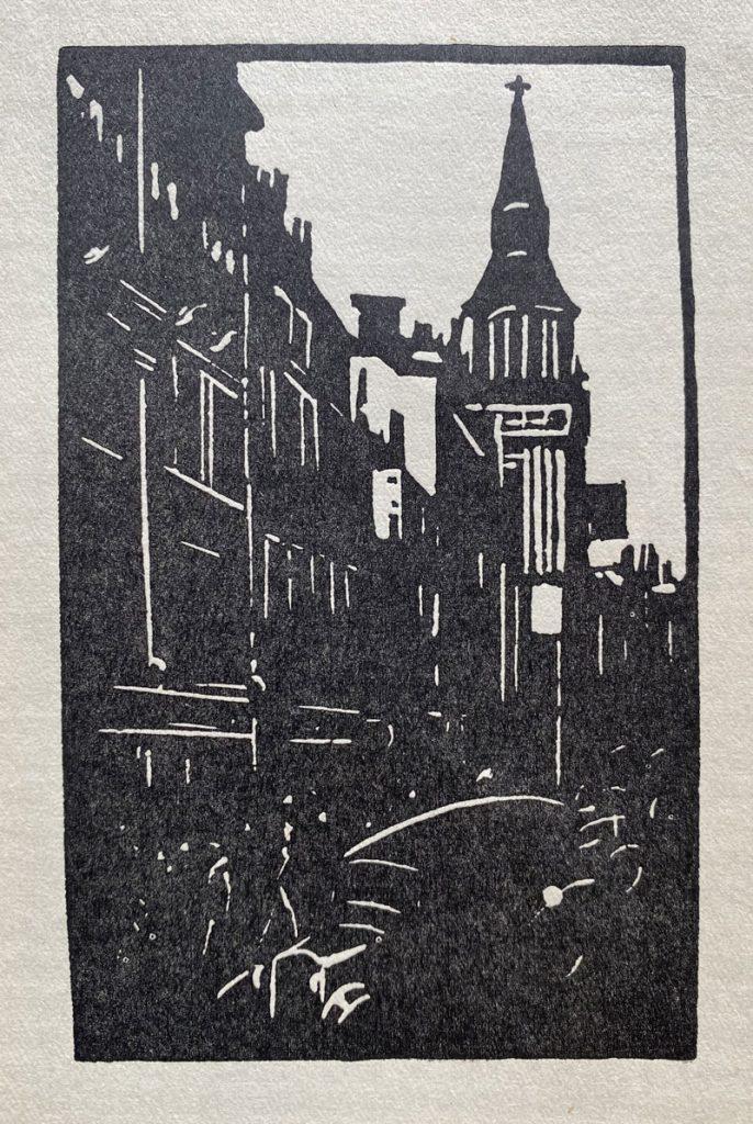 City scene black and white linocut