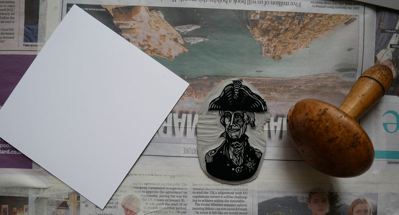 lino printing applying linocut ink