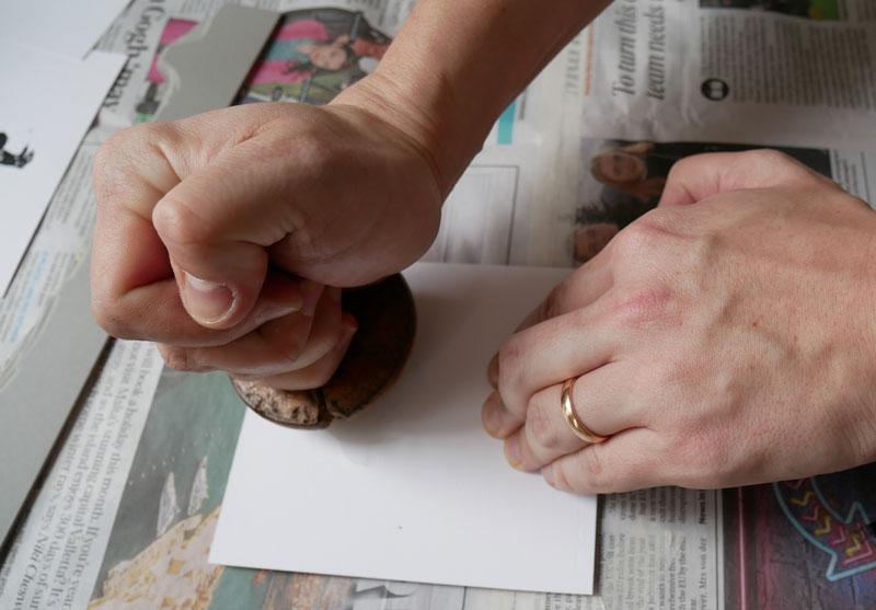 lino printing - applying linocut ink