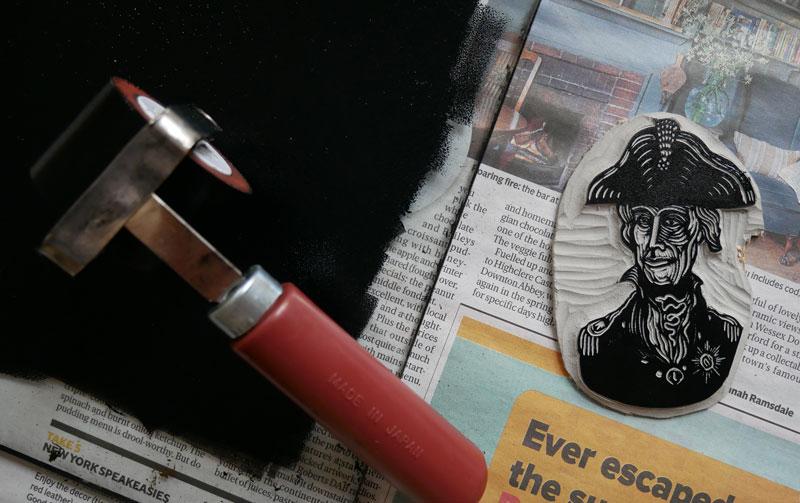 lino printing - applying linocut ink. practice practice!