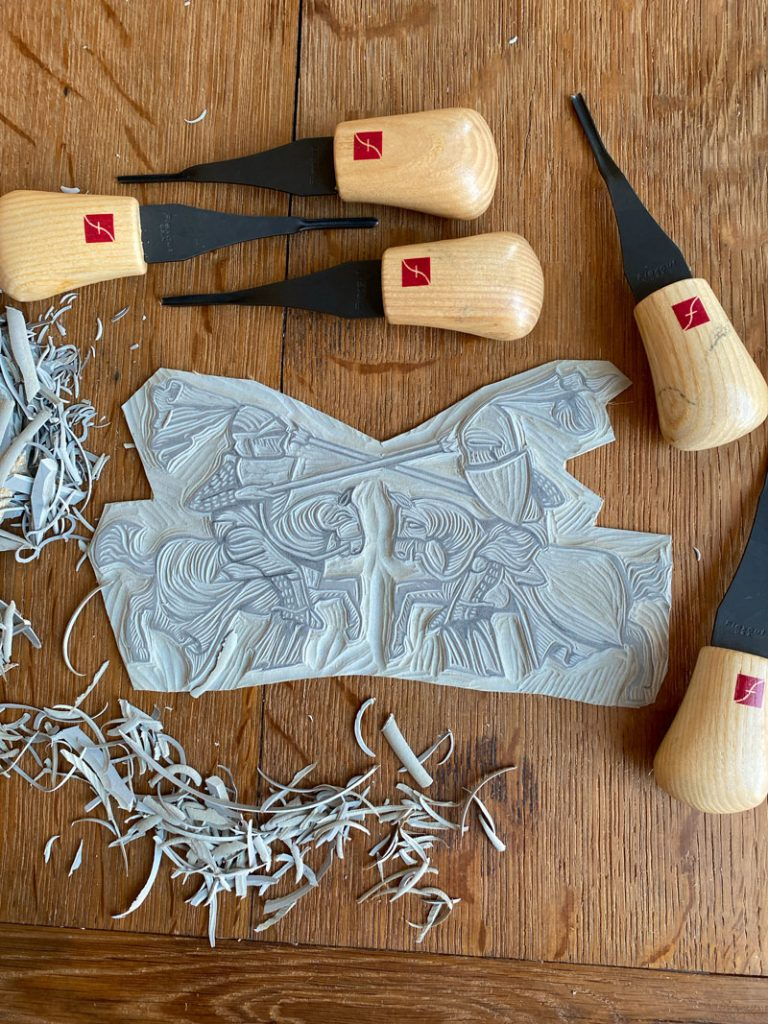 flexcut Lino cutting tools with my linocut design