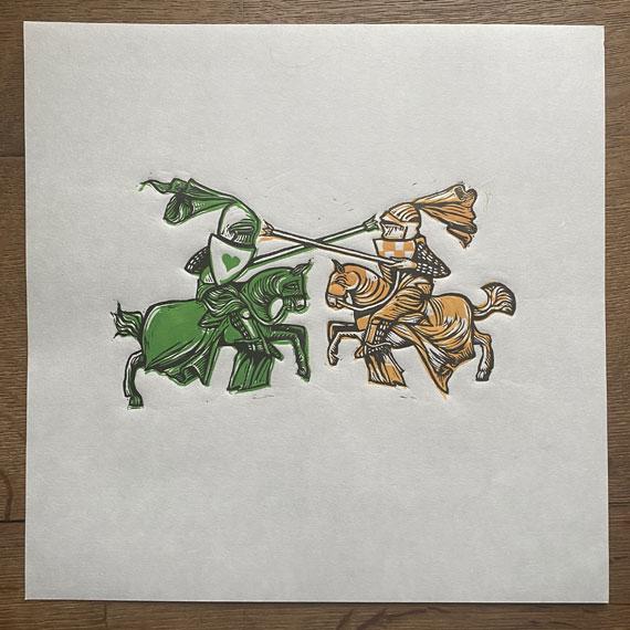 knight-jousting-linocut-print